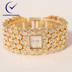Đồng hồ nữ bs chính hãng mặt vuông đính đá sang trọng BS08 - Màu vàng