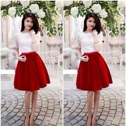D1231-Set áo ren chân váy nhung phối nơ đỏ