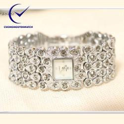Đồng hồ nữ bs chính hãng mặt vuông đính đá sang trọng BS08 - Màu trắng