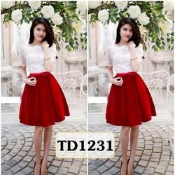 Set áo ren chân váy nhung phối nơ đỏ TD1231