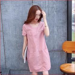 Đầm suông phối túi MS210 - Có 4 màu lựa chọn