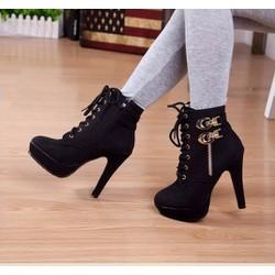 Giày boot nhung cổ cao phong cách Hàn Quốc B040