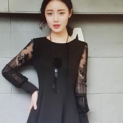 Đầm xòe nữ thiết kế tay phối ren, phong cách trẻ trung.