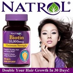 Viên uống ngăn rụng tóc kích thích mọc tóc Biotin 10000mcg Natrol