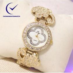Đồng hồ nữ bs chính hãng mặt họa tiết hoa sang trọng BS09 - Màu vàng