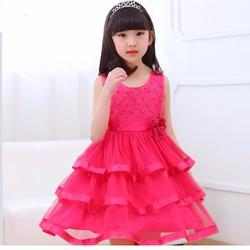 Đầm công chúa 3 tầng màu hồng