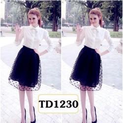 Set áo sơ mi chân váy bi TD1230