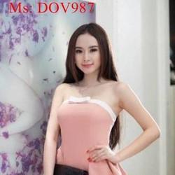 Đầm body peplum cúp ngực phối viền trắng nơ xinh xắn DOV987