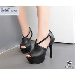 Giày cao gót nữ có 2 quai chéo nhau- C779