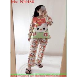 Đồ bộ nữ mặc nhà dài tay hình mèo hello kitty xì teen NN480