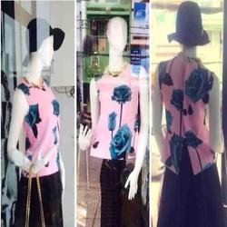 Sét áo sát nách họa tiết hoa hồng và chân váy xòe SEV352