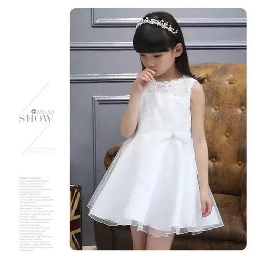 4-8 tuổi Đầm công chúa màu trắng cho bé xinh