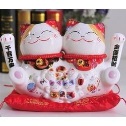 Mèo Maneki Neko cặp 2 tay vẫy 35908