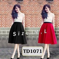 Set áo ren chân váy đỏ nơ đen TD1071