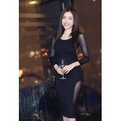 Váy đen hở lưng đẹpthiết kế ôm sát body pha lưới sexy M31017
