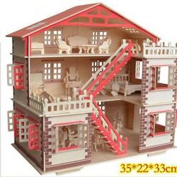 Bộ xếp hình ngôi nhà gỗ + đồ nội thất
