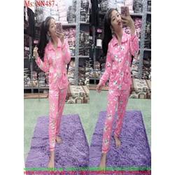 Đồ bộ nữ mặc nhà dài tay pijama họa tiết hoạt hình NN486