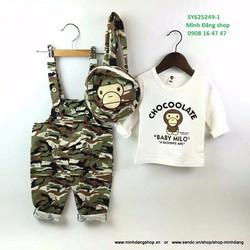 Set quần yếm, áo thun và ba lô họa tiết lính đáng yêu lắm