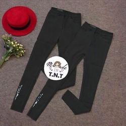 Quần Skinny Jeans Chữ Thêu