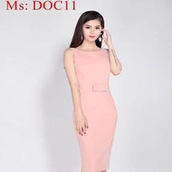 Đầm dự tiệc màu hồng thiết kế đơn giản đính nơ xinh xắn DOC11