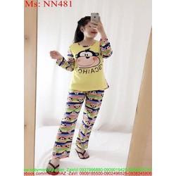 View  Đồ bộ nữ mặc nhà dài tay hình khỉ dễ thương NN481