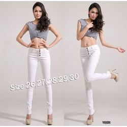 Quần jean trắng lưng cao 4 nút xinh xắn PT15161VN