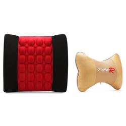 Bộ 1 đệm dựa lưng Massage điện và 1 gối tựa đầu ghế xe bọc nỉ