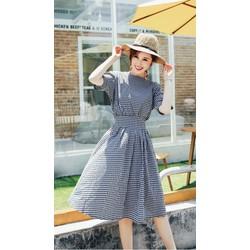 Đầm Xòe Vintage Caro Nhí Dễ Thương D354