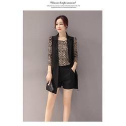 Sét áo khoác + quần short + vest kèm áo da beo + 5149.SETZO