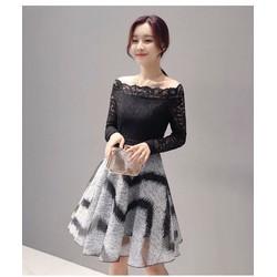 Đầm xòe họa tiết bẹt vai