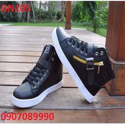 Giày thể thao cao cổ phối dây kéo cực chất Hàn Quốc - GN105