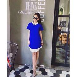 Đầm dáng suông xanh coban