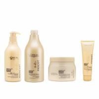 Combo gội xả ủ kem chống nhiệt cho tóc hư tổn Loreal Absolut Repair