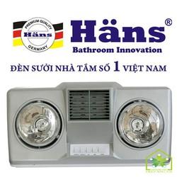 Đèn Sưởi Nhà Tắm Hans 2 Bóng Quạt Thổi