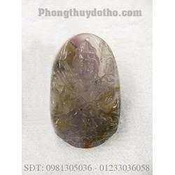 Mặt Phật Hư không tạng bồ tát màu trắng xám 5 x 3,5 cm - VMP 04