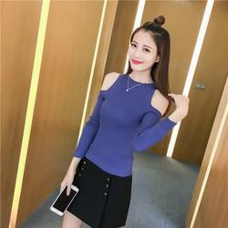 Áo len dệt kim nữ thời trang, kiểu dáng năng động, mẫu Hàn Quốc