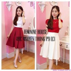Set áo ren tay váy xòe trắng đỏ đáng iu zDD567