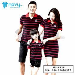 Áo gia đình sọc đỏ đen dày cực đẹp