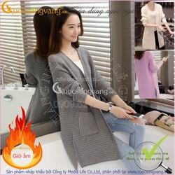 Hàng nhập - Áo khoác len nữ đẹp dài tay dáng dài sọc ngang GLA063
