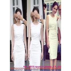 Đầm ôm trắng thiết kế xếp eo sành điệu và thời trang DOV282