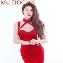 Đầm body dự tiệc cúp ngực kiểu dây đan chéo thời trang DOC165