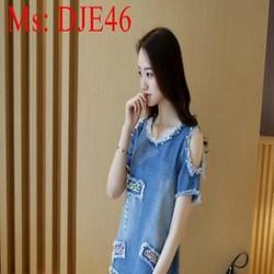 Đầm jean nữ thiết kế khoét vai đính hạt thời trang phong cách DJE46