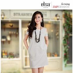 Váy liền chữ A trắng kẻ đen khoét vai phong cách Hàn Quốc