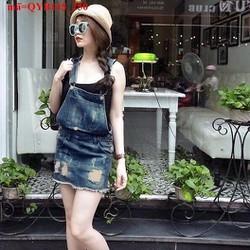 Váy yếm jean nữ rách bụi bặm sành điệu aQYB145