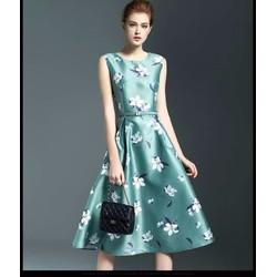 Đầm Xòe Vintage Họa Tiết Cao Cấp Kèm Thắt Lưng - DXM357