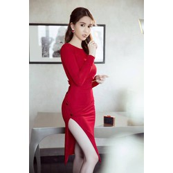 Váy hở lưng chữ Vthiết kế ôm body đẹp như Ngọc Trinh M31023