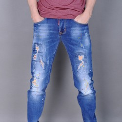 Quần Jeans nam skinny rách bụi phun sơn
