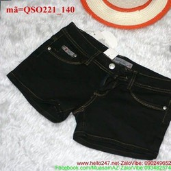 Quần short Jean nữ màu đen đơn giản cá tính QSO221