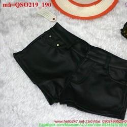 Quần short da nữ màu đen phong cách cá tính QSO219