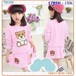 Bộ váy gấu thu đông dễ thương cho bé